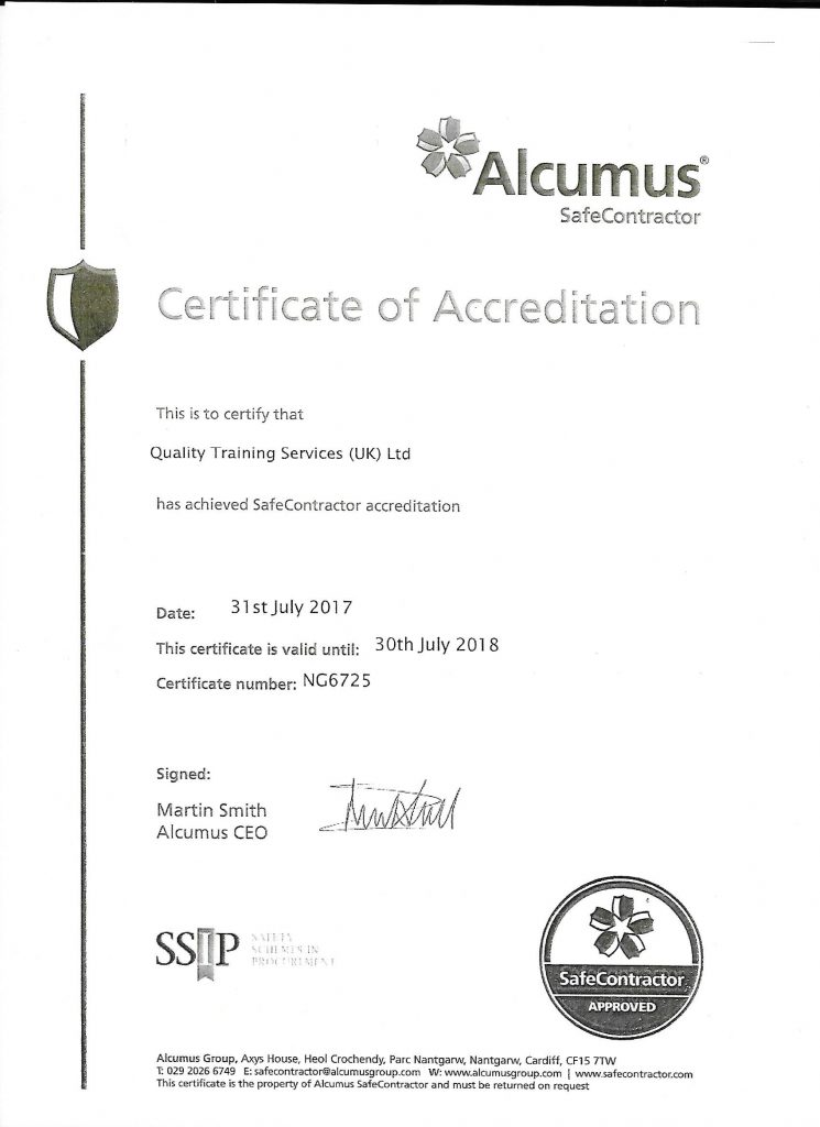 Safe Contractor Certificate Qts Uk
